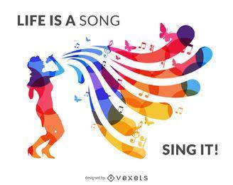 Banner de silueta de cantante