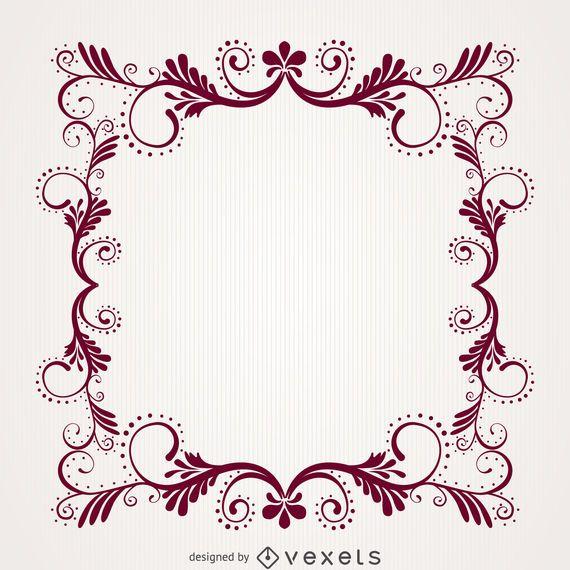 Marco decorativo floral remolino ornamental