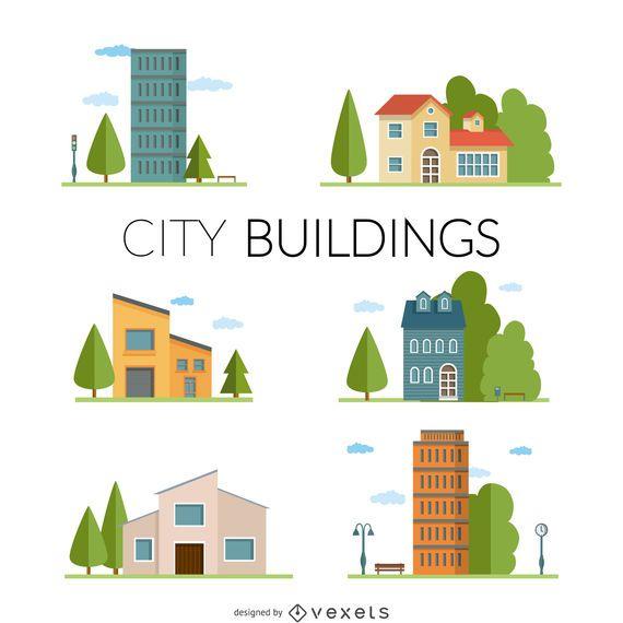 Conjunto de ilustração de edifícios de cidade plana