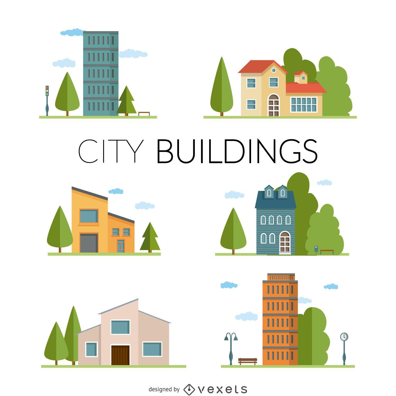 Flat city buildings illustration set