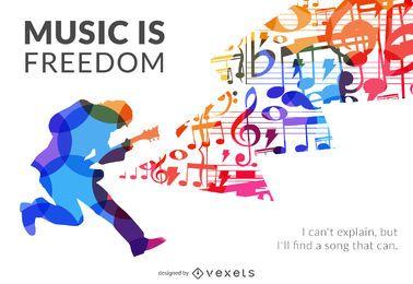 Cartel de silueta de la libertad de la música.