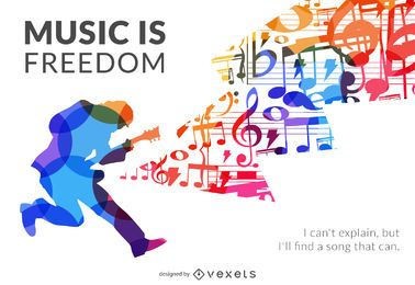 Cartel de silueta de música es libertad