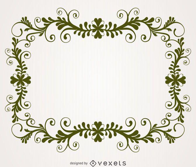 Marco de remolino floral antiguo