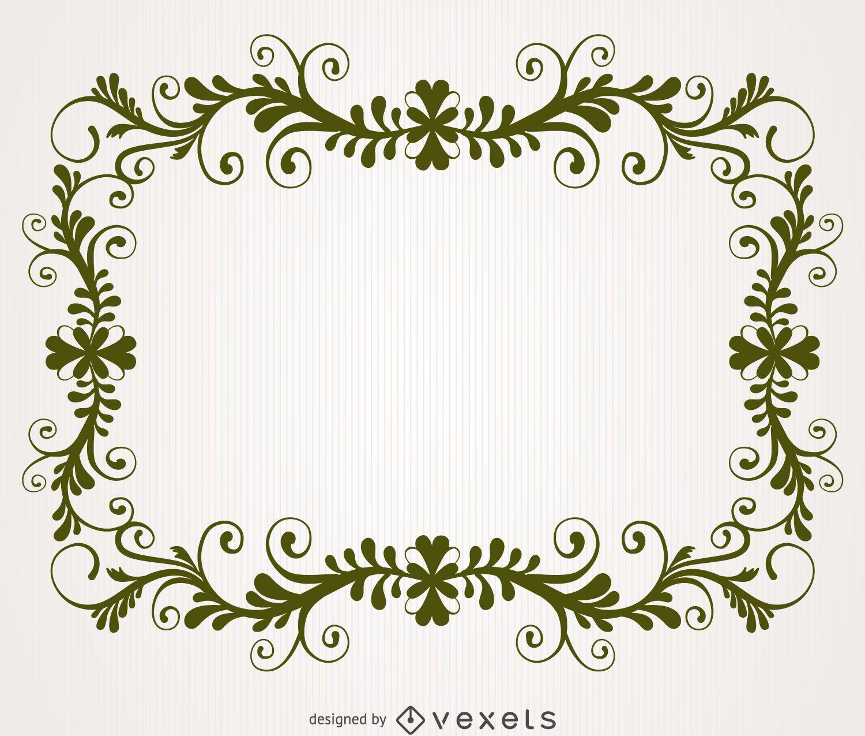Marco del remolino floral antiguo - Descargar vector