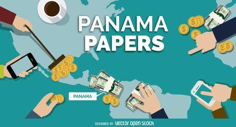 desenho da bandeira do Panamá Papers