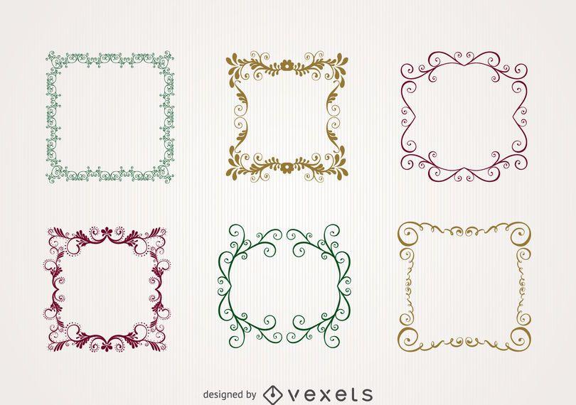 Floral swirl frame set