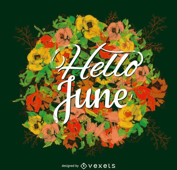 June typography poster flower