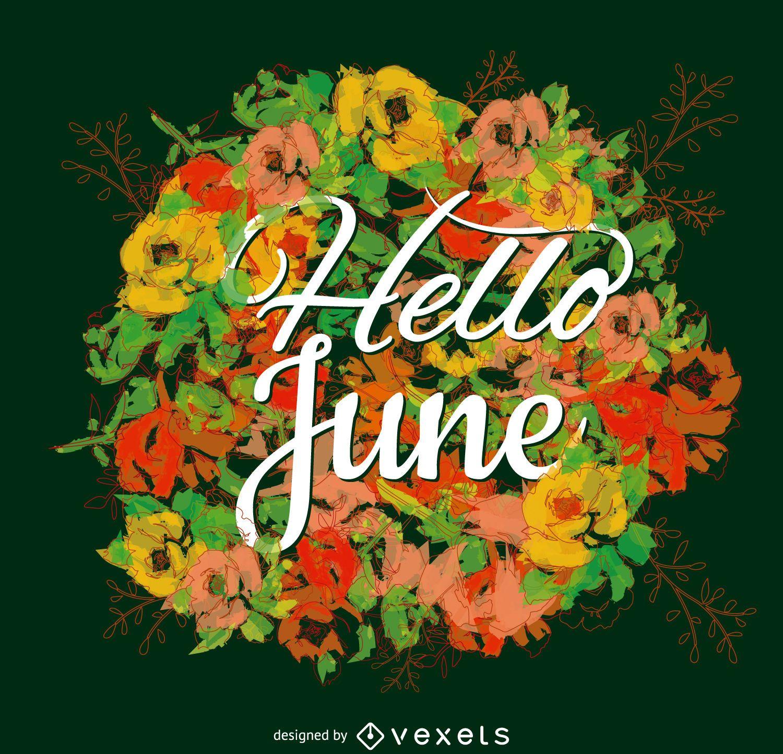 Flor de cartel de tipografía de junio