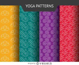 Conjunto de padrões de ícones de ioga