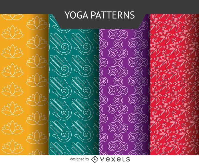 Conjunto de patrón de iconos de yoga