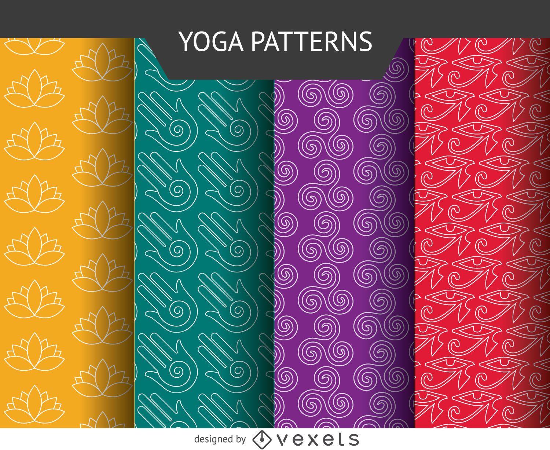 Conjunto de patrones de iconos de yoga