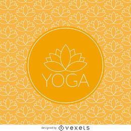 Patrón de loto de yoga con etiqueta