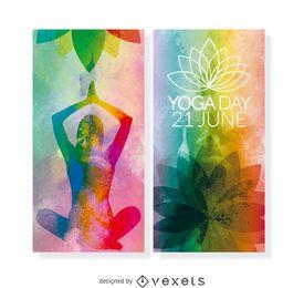 2 banners verticales del Día del Yoga.