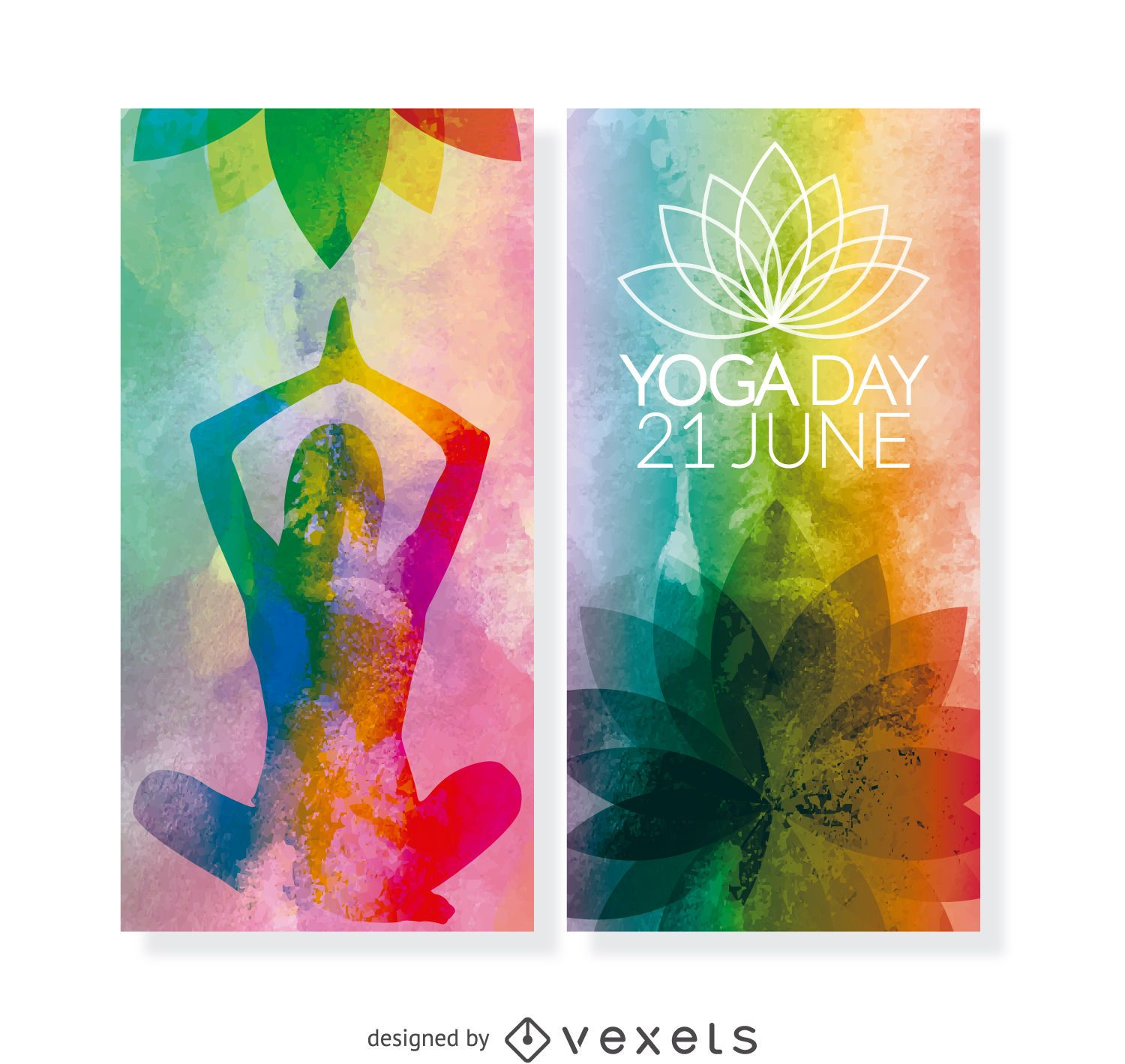 2 Yoga Day vertical banners