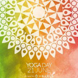 Tarjeta colorida del mandala del día del yoga