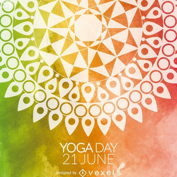 Cartão colorido da mandala do dia da ioga