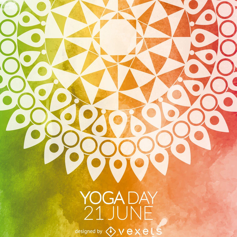Tarjeta colorida del mandala del d?a del yoga