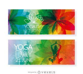 2 banners horizontais do Yoga Day