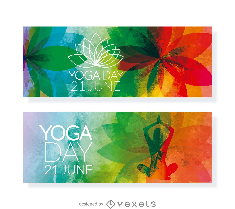 2 banners horizontales del día del yoga.