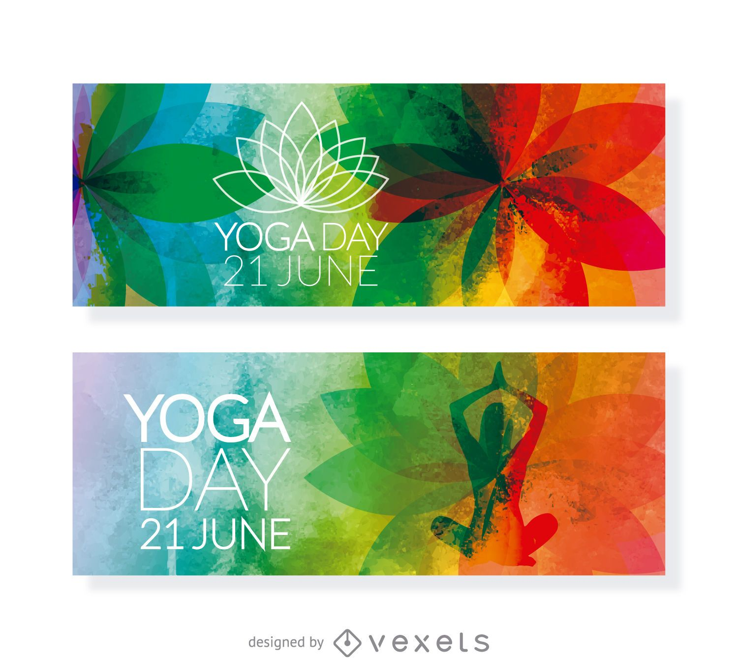 2 yoga day horizontal banners vector download