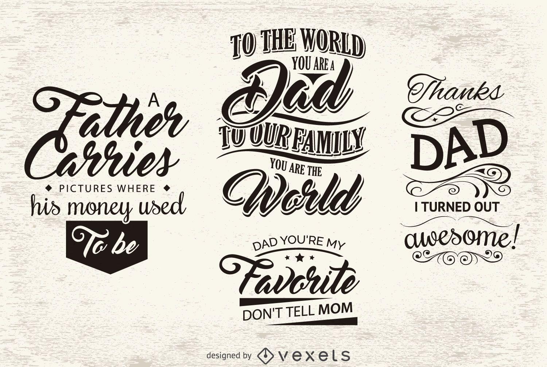 Emblemas de mensagem para o dia dos pais