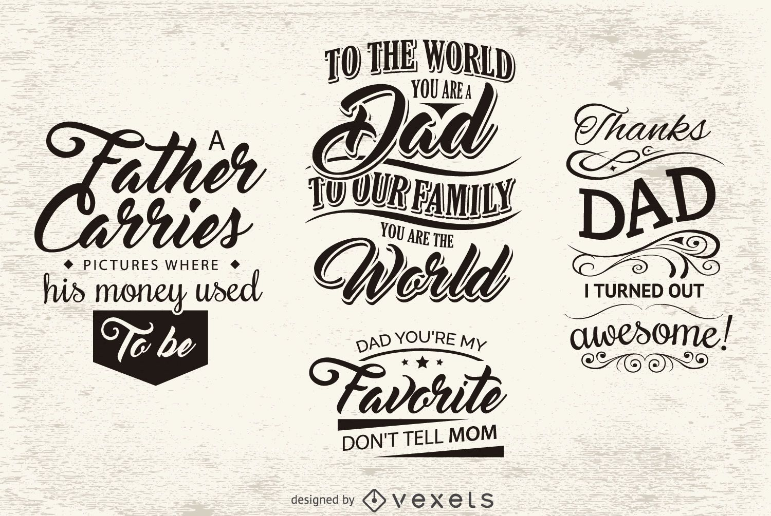 Message emblems for father's day