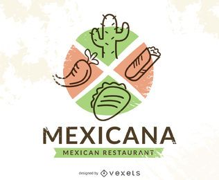 Mexican food logo with chile