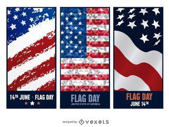 3 banderas del Día de la Bandera