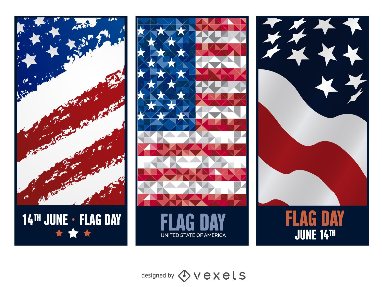 3 pancartas del Día de la Bandera