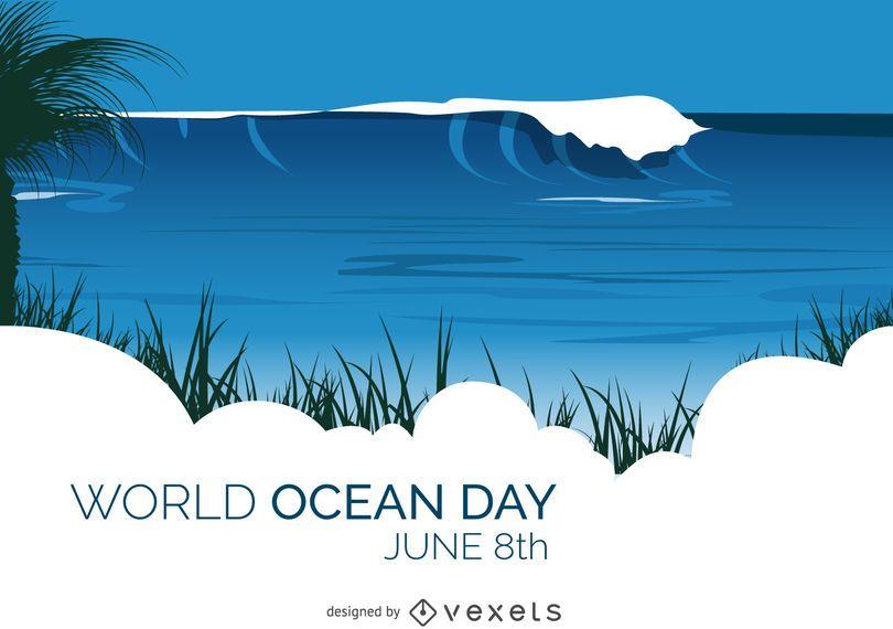 Cartão de praia do dia mundial do oceano