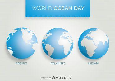 Día mundial del océano 3 diseño del mapa mundial