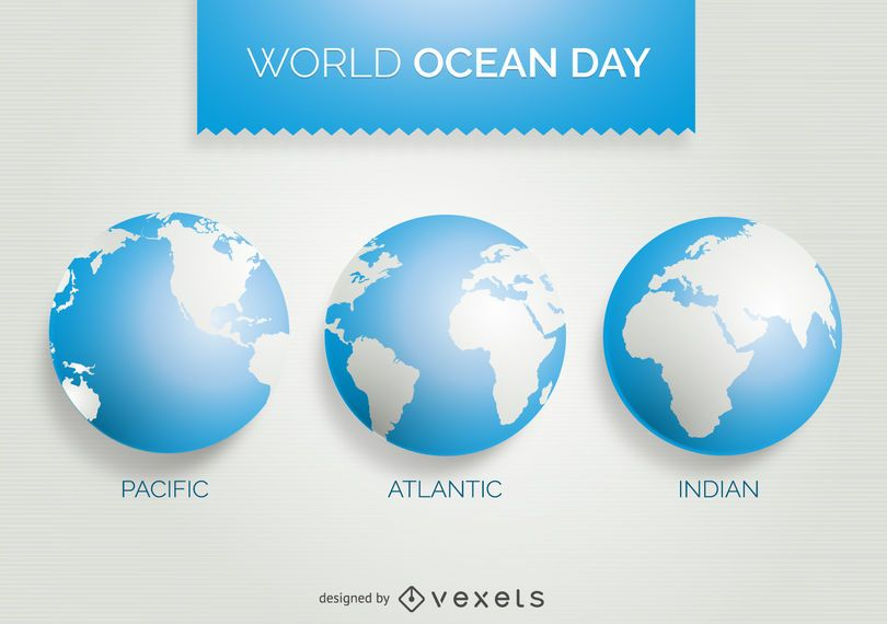World Ocean Day 3 world map design