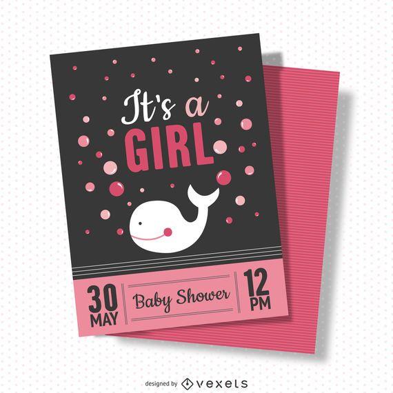 Cartão de chuveiro de bebê menina