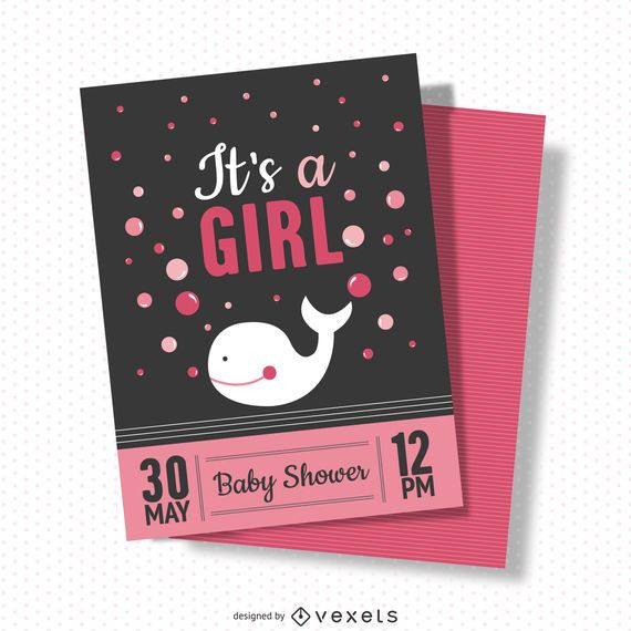 Girl baby shower card