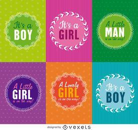 Conjunto de etiquetas de baby shower