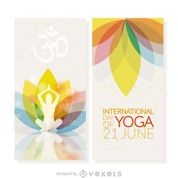 Conjunto de banners verticales del día de yoga.