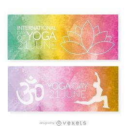 Yoga conjunto de la bandera del Día