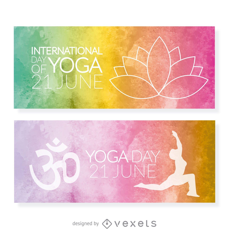 Conjunto de banners del día del yoga
