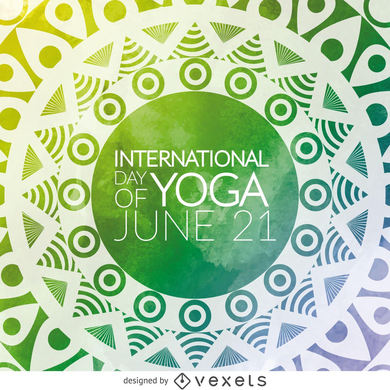 Tarjeta de mandala del d?a del yoga