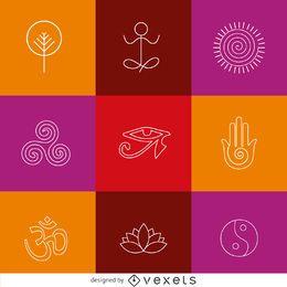 Iconos de iconos de yoga de línea delgada