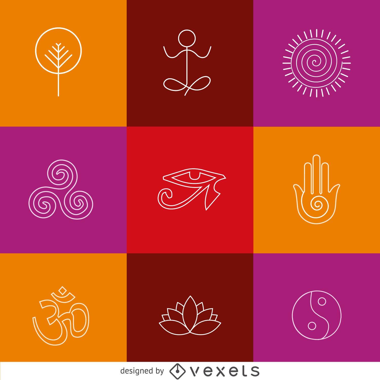 Iconos de yoga zen de línea delgada