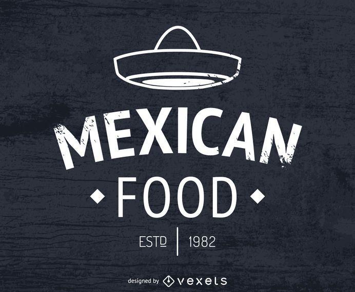 Logotipo de comida mexicana com chapéu