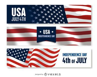US Independence Day banner set