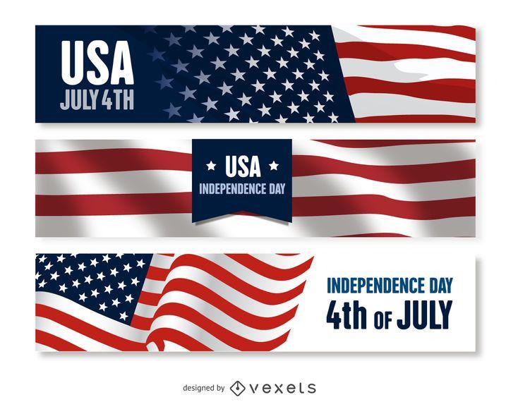 Conjunto de banner do dia da independência dos EUA