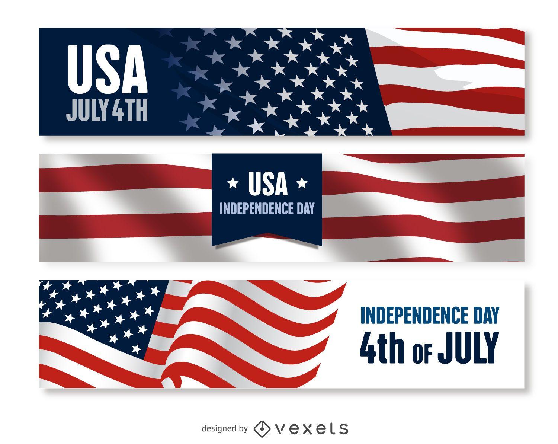 US Independence Day banner set