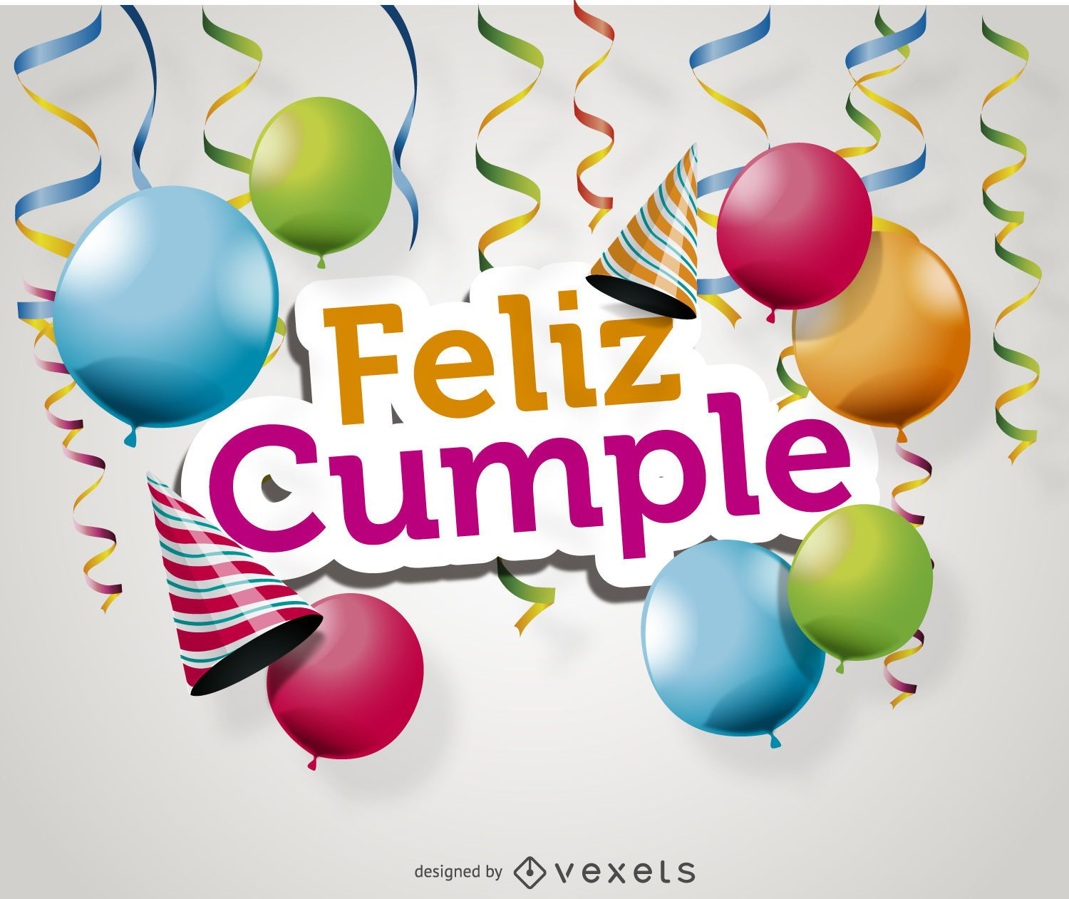 Feliz cumple card Vector download