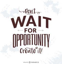 Crear cartel de la tipografía oportunidad
