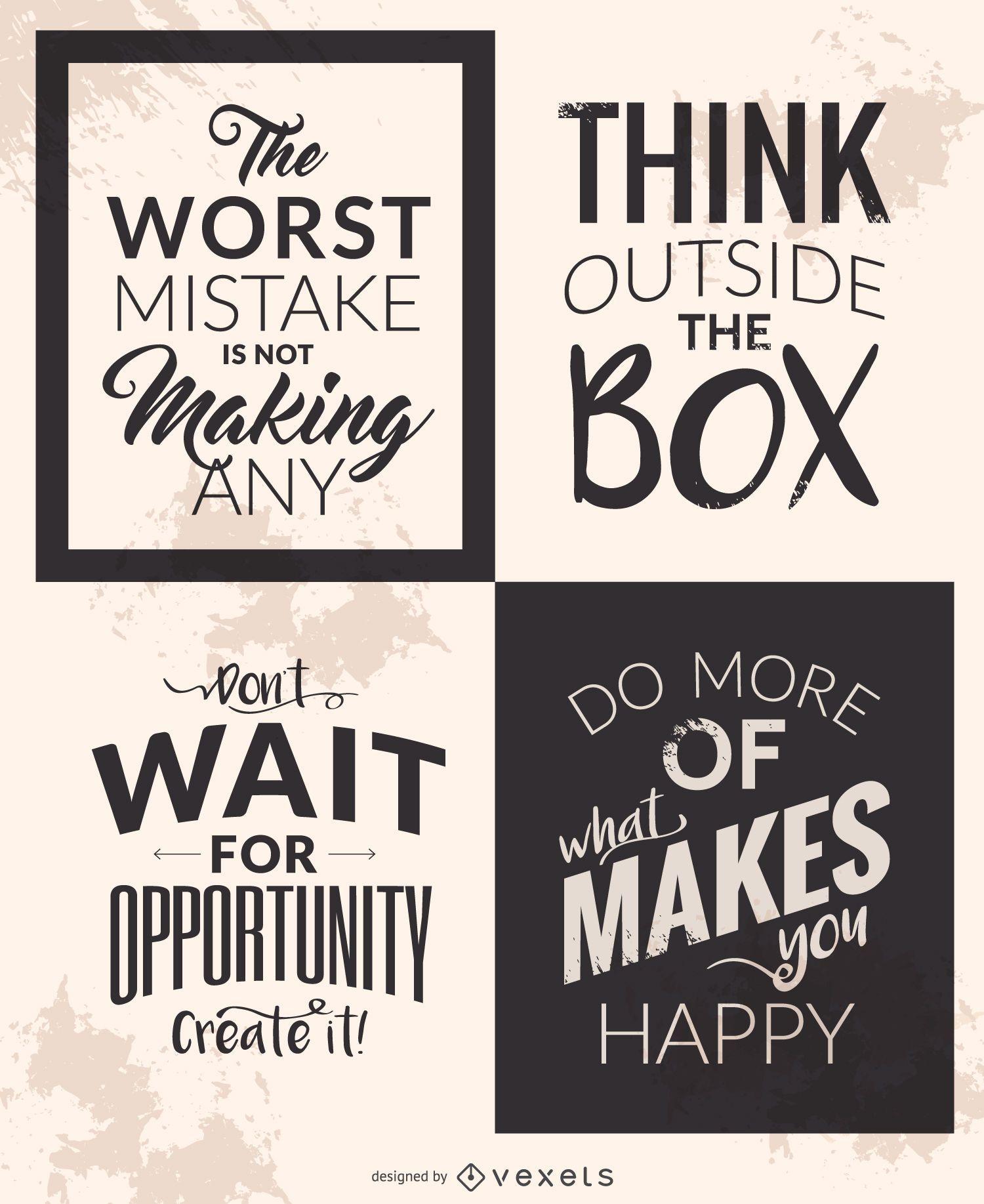 Motivational quote set