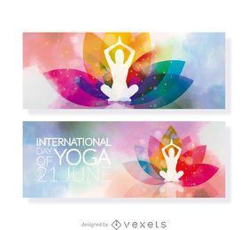 Colorido día de yoga banner set