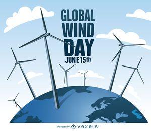 Día mundial del viento con diseño de molinos de viento.